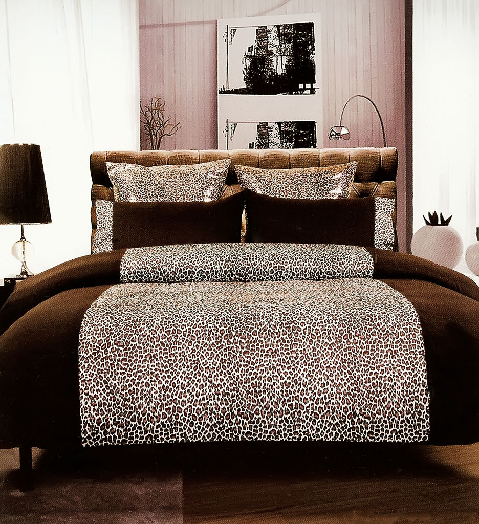Leopard-Chocolate-Brown-Quilt-Doona-Cover-Set-Bedding-Bed-Animal-Print-Teen-New